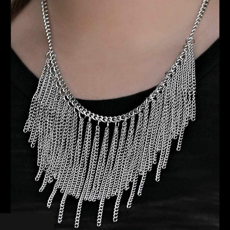 Wicked Wonders VIP Bling Necklace Dive In Silver Statement Necklace Affordable Bling_Bling Fashion Paparazzi