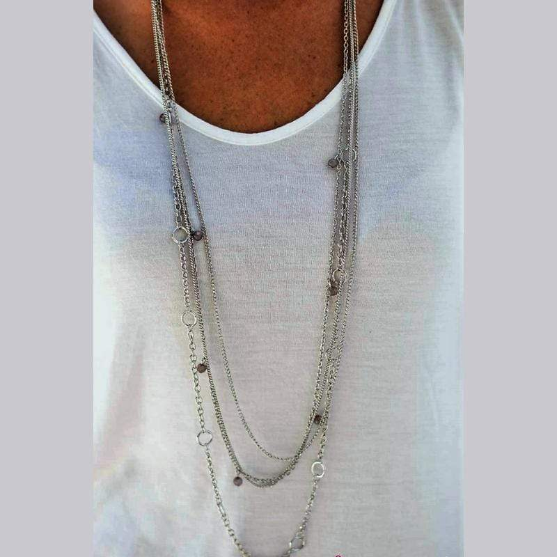 Wicked Wonders VIP Bling Necklace Do the Locomotion Silver Necklace Affordable Bling_Bling Fashion Paparazzi