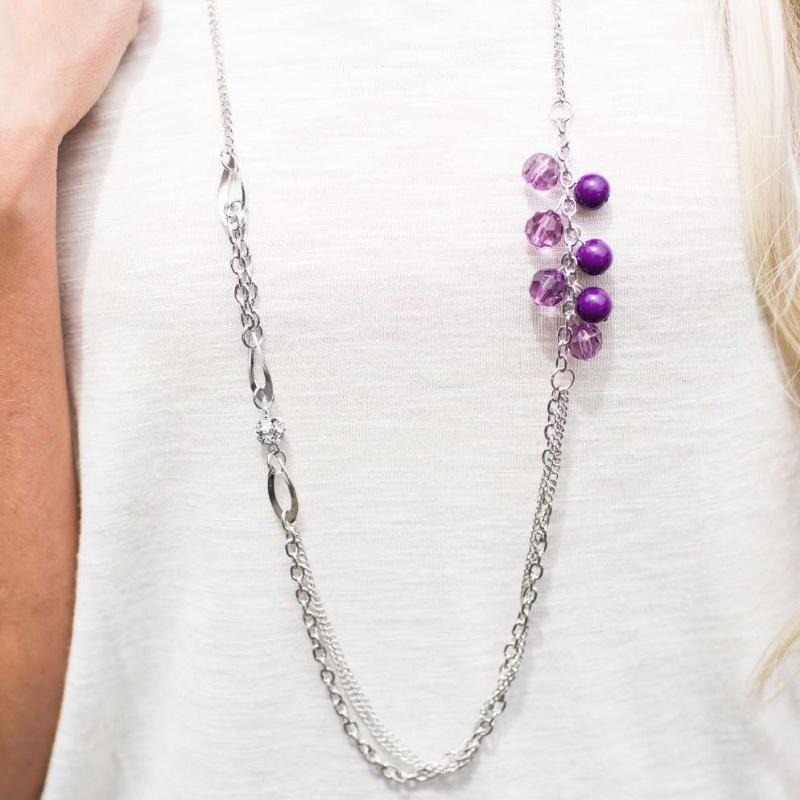 Wicked Wonders VIP Bling Necklace Don't Waste Your Time Purple Necklace Affordable Bling_Bling Fashion Paparazzi
