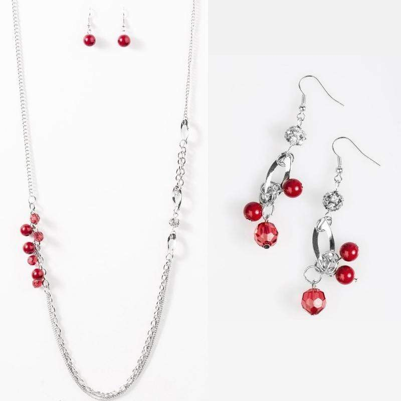Wicked Wonders VIP Bling Necklace Don't Waste Your Time Red Set Affordable Bling_Bling Fashion Paparazzi