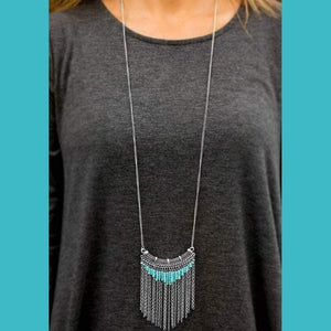 Wicked Wonders VIP Bling Necklace Down in the Valley Blue Seed Bead Necklace Affordable Bling_Bling Fashion Paparazzi