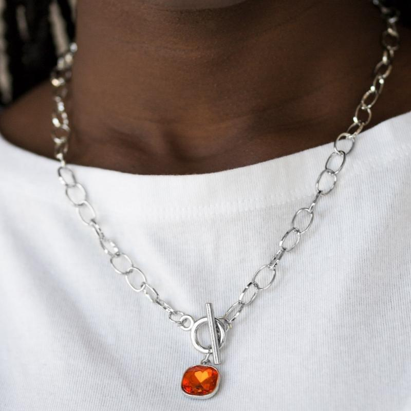 Wicked Wonders VIP Bling Necklace Dynamite Dazzle Orange Gem Necklace Affordable Bling_Bling Fashion Paparazzi