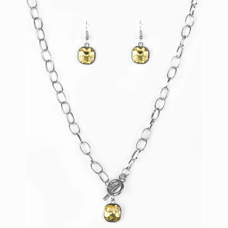 Wicked Wonders VIP Bling Necklace Dynamite Dazzle Yellow Gem Necklace Affordable Bling_Bling Fashion Paparazzi