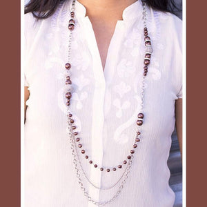 Wicked Wonders VIP Bling Necklace Enmeshed in Elegance Brown Necklace Affordable Bling_Bling Fashion Paparazzi
