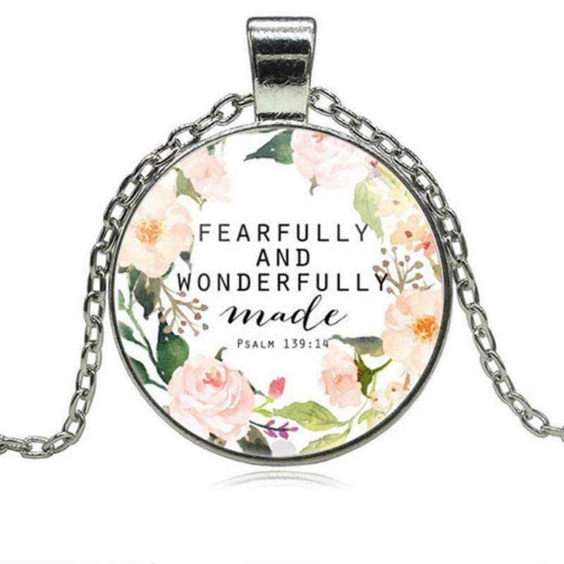 Wicked Wonders VIP Bling Necklace Fearfully and Wonderfully Made Psalm 139:14 Silver and Multi-Colored Necklace Affordable Bling_Bling Fashion Paparazzi