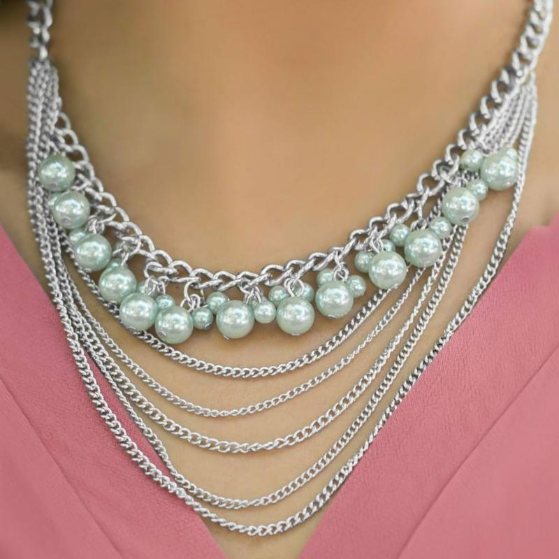 Wicked Wonders VIP Bling Necklace First Love Sage Green Statement Necklace Affordable Bling_Bling Fashion Paparazzi