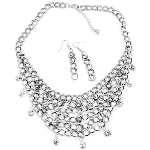 Wicked Wonders VIP Bling Necklace Fishing for Compliments Silver and White Rhinestone Necklace Affordable Bling_Bling Fashion Paparazzi