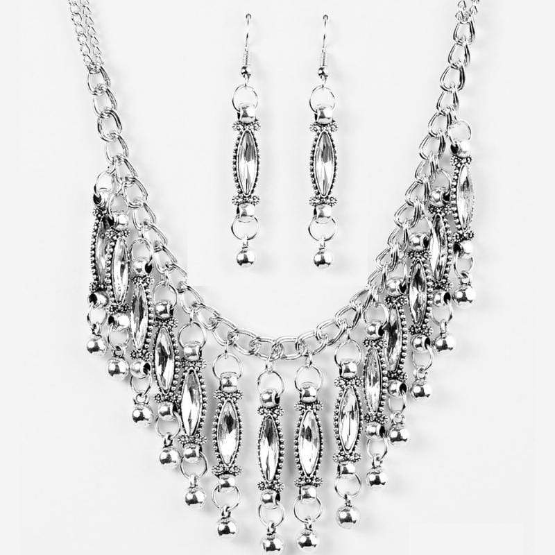Wicked Wonders VIP Bling Necklace Flirting With Fringe White Gem Necklace Affordable Bling_Bling Fashion Paparazzi