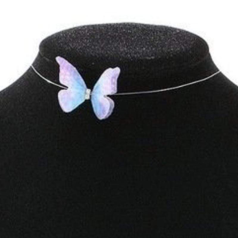 Wicked Wonders VIP Bling Necklace Flirty Butterfly Floating Choker Necklace Purple and Blue Affordable Bling_Bling Fashion Paparazzi