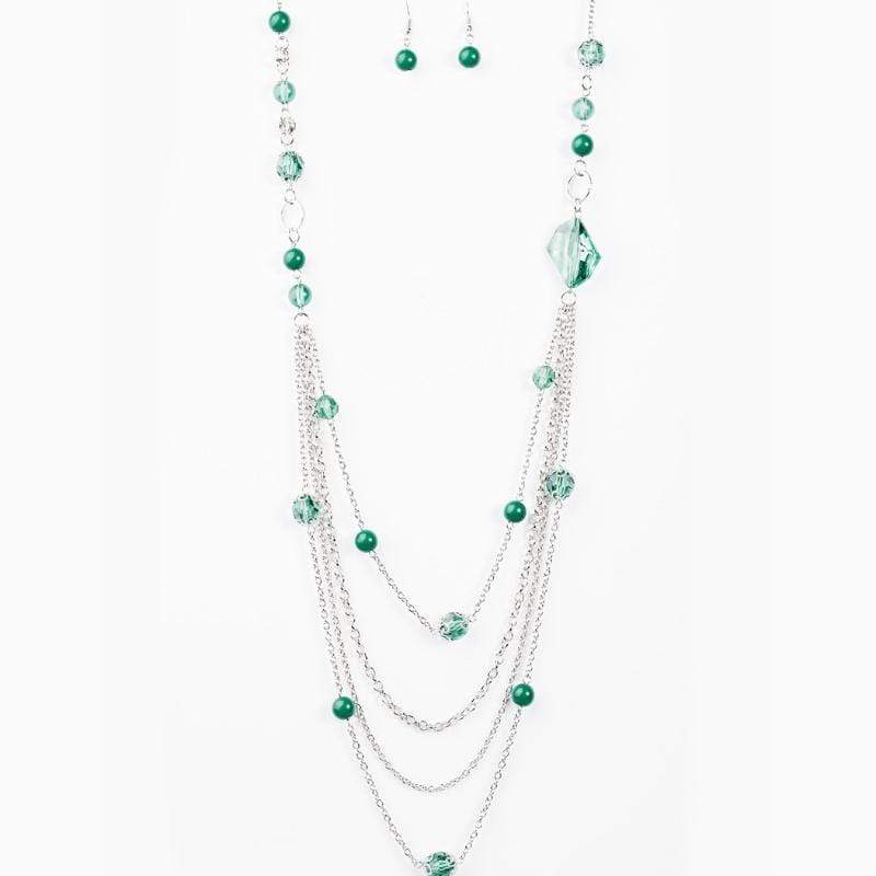 Wicked Wonders VIP Bling Necklace Fool For Jewels Green Quad-Layer Necklace Affordable Bling_Bling Fashion Paparazzi