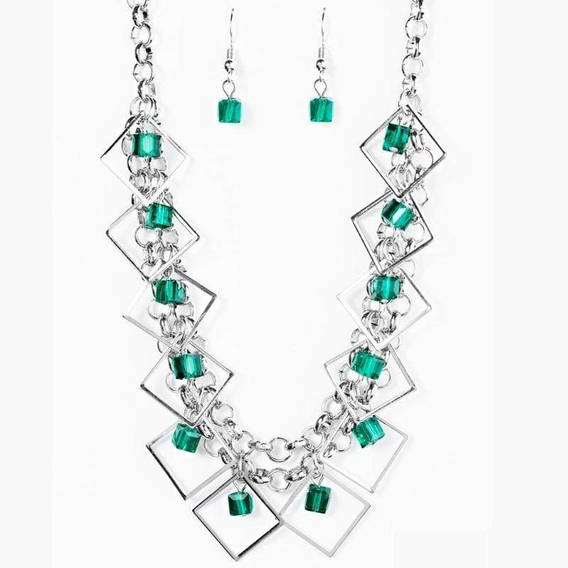 Wicked Wonders VIP Bling Necklace GEO Down in History Green Necklace Affordable Bling_Bling Fashion Paparazzi