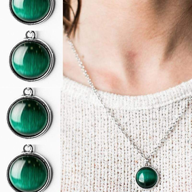 Wicked Wonders VIP Bling Necklace Give Me the Moon Green Necklace Affordable Bling_Bling Fashion Paparazzi