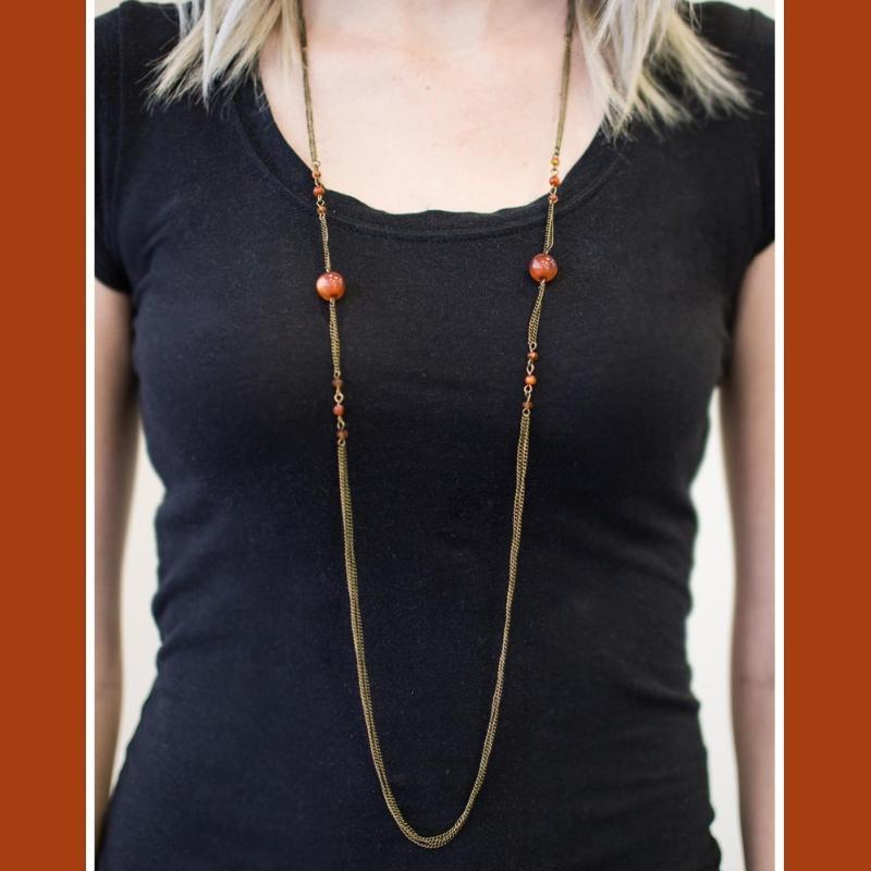Wicked Wonders VIP Bling Necklace Half Past Midnight Orange Necklace Affordable Bling_Bling Fashion Paparazzi