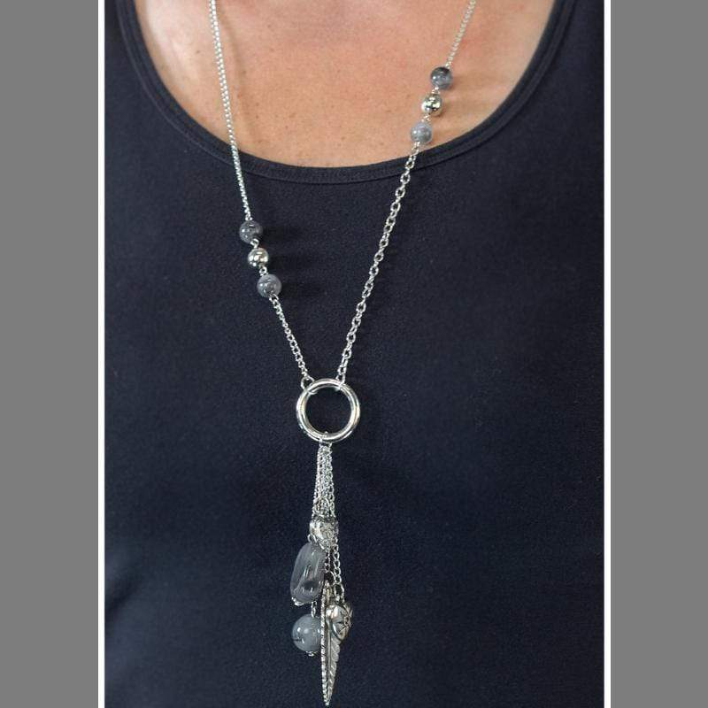 Wicked Wonders VIP Bling Necklace Hanging By a Moment Silver Necklace Affordable Bling_Bling Fashion Paparazzi