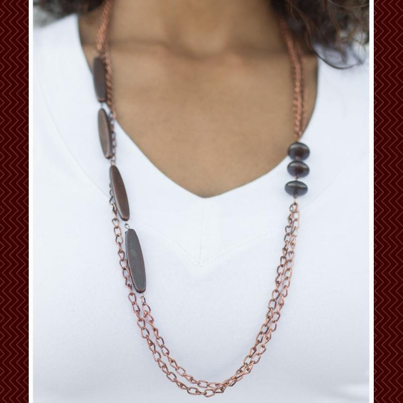Wicked Wonders VIP Bling Necklace Happy As the Day Is Long Copper Necklace Affordable Bling_Bling Fashion Paparazzi