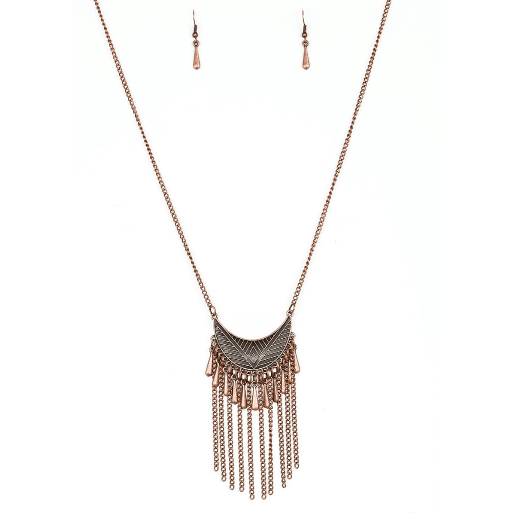 Wicked Wonders VIP Bling Necklace Happy is the Huntress Copper Necklace Affordable Bling_Bling Fashion Paparazzi