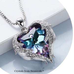 Wicked Wonders VIP Bling Necklace Heart of an Angel Purple/Blue Mix Swarovski Necklace Affordable Bling_Bling Fashion Paparazzi