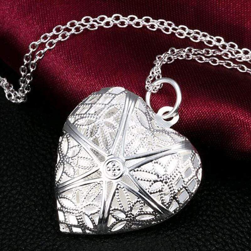 Wicked Wonders VIP Bling Necklace Heart Shaped Box Silver Locket Necklace Affordable Bling_Bling Fashion Paparazzi