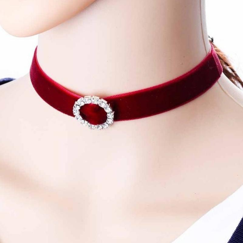 Wicked Wonders VIP Bling Necklace Hold It Against Me Red Choker Necklace Affordable Bling_Bling Fashion Paparazzi