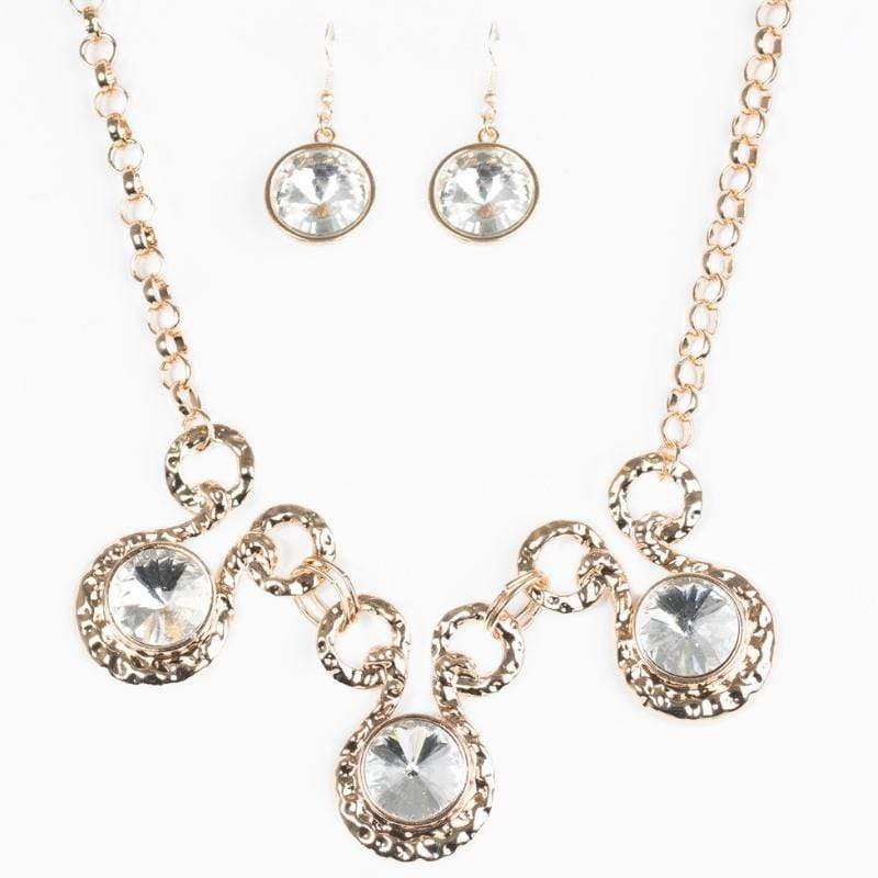 Wicked Wonders VIP Bling Necklace Hypnotized Gold and White Gem Statement Necklace Affordable Bling_Bling Fashion Paparazzi