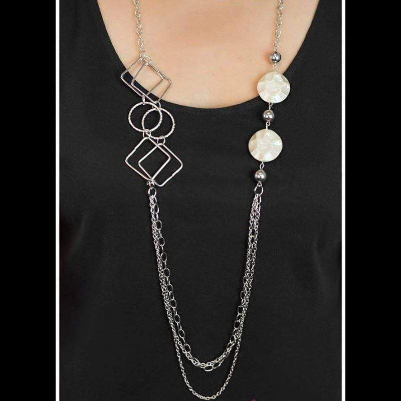 Wicked Wonders VIP Bling Necklace In Anticipation White Necklace Affordable Bling_Bling Fashion Paparazzi