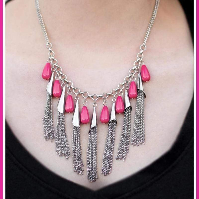 Wicked Wonders VIP Bling Necklace In-FRINGE-Ment Pink Necklace Affordable Bling_Bling Fashion Paparazzi