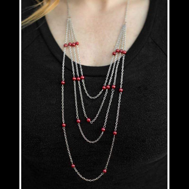 Wicked Wonders VIP Bling Necklace It's a Small World Red Necklace Affordable Bling_Bling Fashion Paparazzi