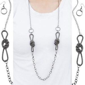Wicked Wonders VIP Bling Necklace It's KNOT Me, It's You Gunmetal Black Necklace Affordable Bling_Bling Fashion Paparazzi