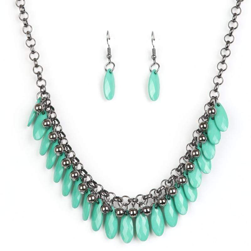 Wicked Wonders VIP Bling Necklace Jersey Shore Green Necklace Affordable Bling_Bling Fashion Paparazzi
