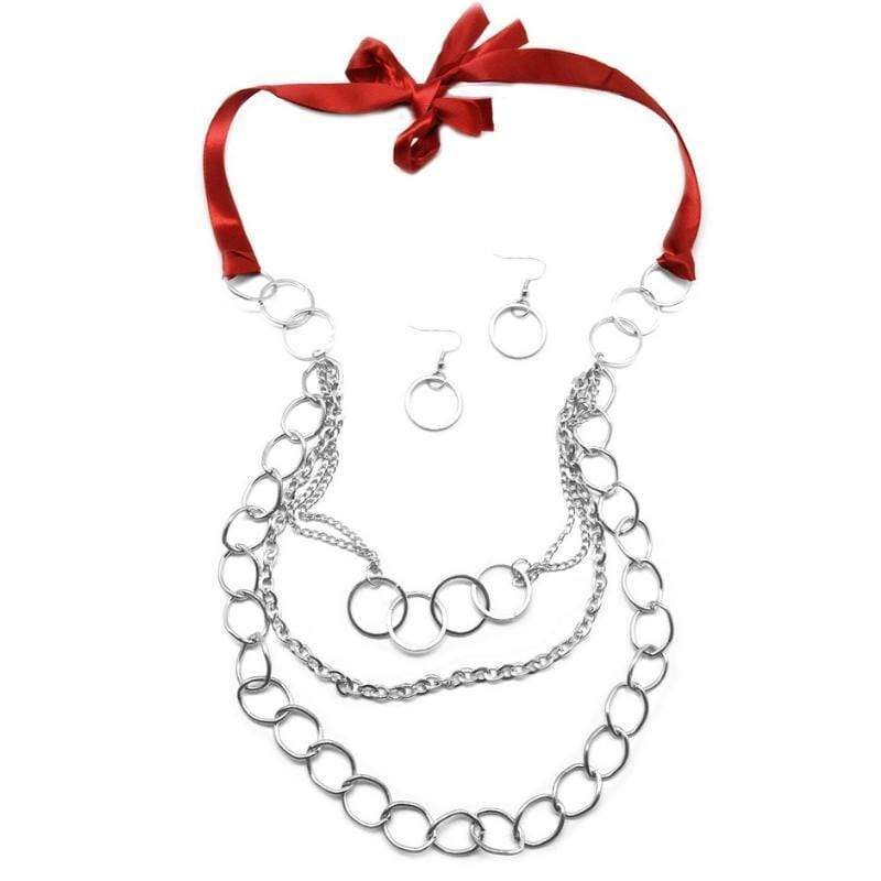 Wicked Wonders VIP Bling Necklace KNOT So Lady Like Red Ribbon Necklace Affordable Bling_Bling Fashion Paparazzi