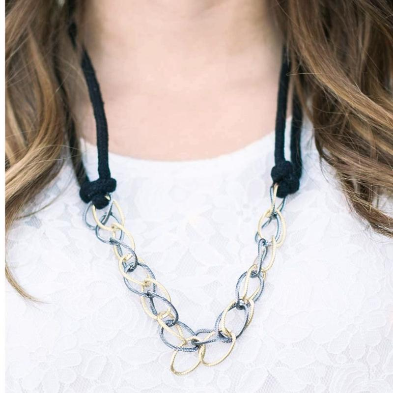Wicked Wonders VIP Bling Necklace Knotty or Nice Black Necklace Affordable Bling_Bling Fashion Paparazzi