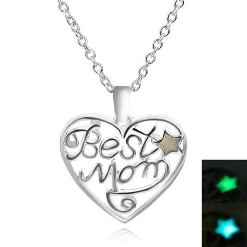 Wicked Wonders VIP Bling Necklace Mom Glow Silver Heart Glow-in-the-Dark Pendant Necklace Affordable Bling_Bling Fashion Paparazzi