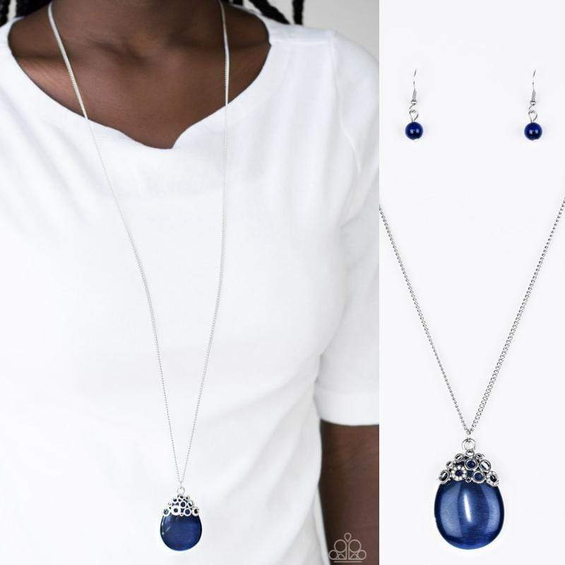 Wicked Wonders VIP Bling Necklace Nightcap and Blue Moonstone Pendant Necklace Affordable Bling_Bling Fashion Paparazzi