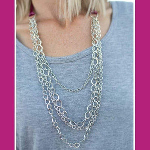 Wicked Wonders VIP Bling Necklace No Strings Attached Pink Ribbon Necklace Affordable Bling_Bling Fashion Paparazzi