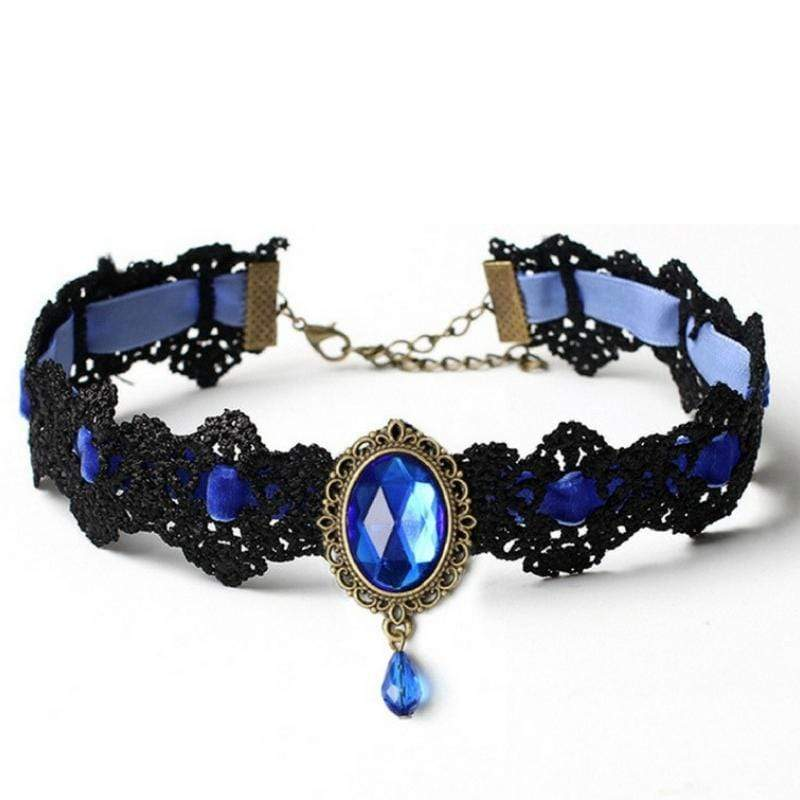 Wicked Wonders VIP Bling Necklace Nottingham Lace Royal Blue Choker Necklace Affordable Bling_Bling Fashion Paparazzi