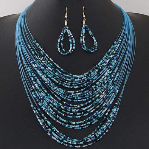 Wicked Wonders VIP Bling Necklace Ocean Pebbles Blue Seed Bead Necklace Affordable Bling_Bling Fashion Paparazzi