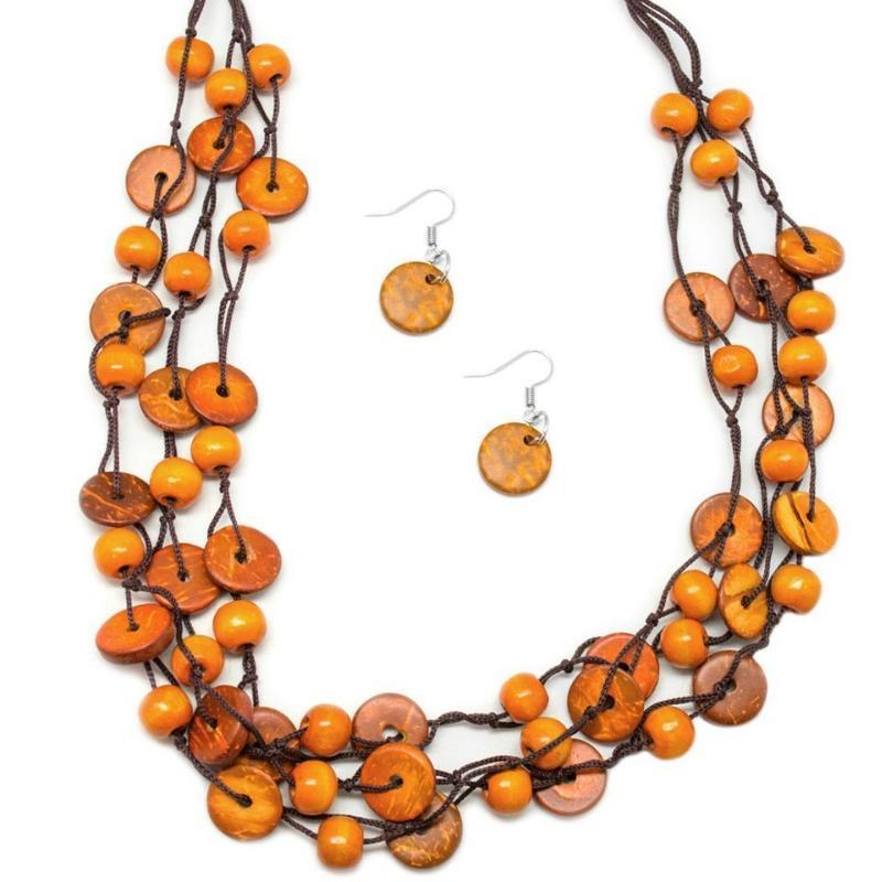 Wicked Wonders VIP Bling Necklace Of Your Own Accord Orange Wood Bead Necklace Affordable Bling_Bling Fashion Paparazzi