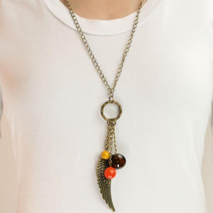 Wicked Wonders VIP Bling Necklace On a Wing and a Prayer Brass Multi Color Necklace Affordable Bling_Bling Fashion Paparazzi