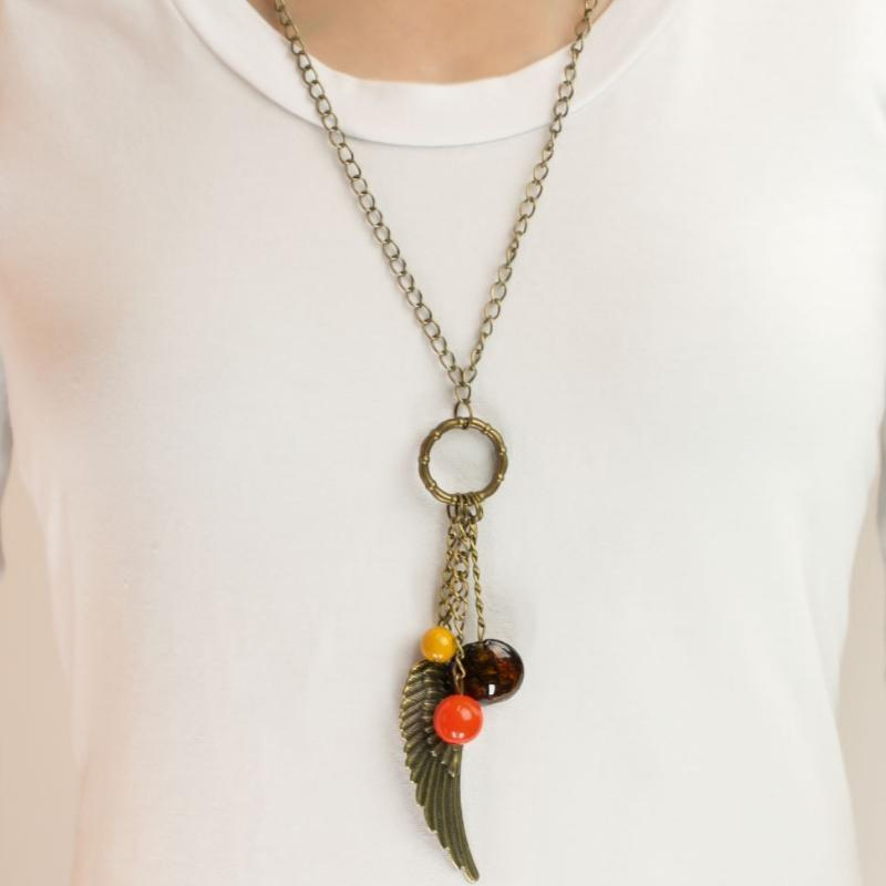Wicked Wonders VIP Bling Necklace On a Wing and a Prayer Brass Necklace Affordable Bling_Bling Fashion Paparazzi