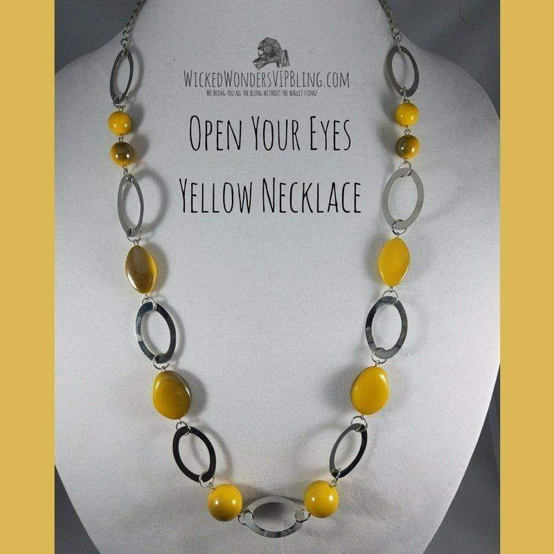 Wicked Wonders VIP Bling Necklace Open Your Eyes Yellow Necklace Affordable Bling_Bling Fashion Paparazzi