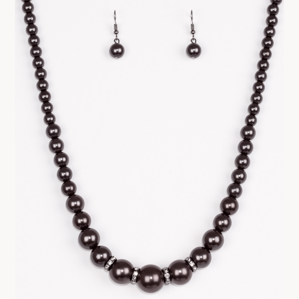 Wicked Wonders VIP Bling Necklace Party Pearls Black Pearl Necklace Affordable Bling_Bling Fashion Paparazzi