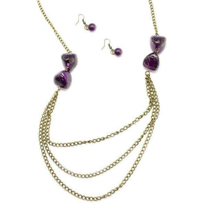 Wicked Wonders VIP Bling Necklace Pebble In My Pocket Brass and Purple Necklace Affordable Bling_Bling Fashion Paparazzi