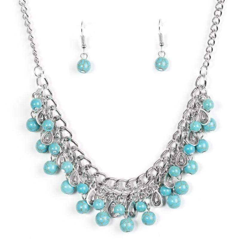 Wicked Wonders VIP Bling Necklace Poshly Paleo Blue Necklace Affordable Bling_Bling Fashion Paparazzi