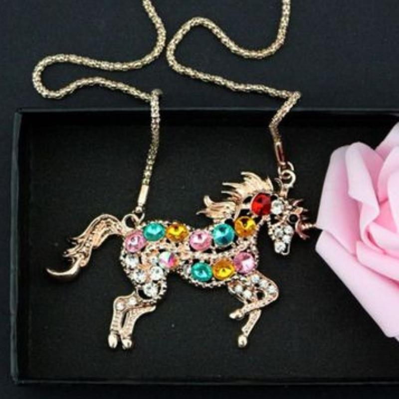 Wicked Wonders VIP Bling Necklace Ride a Rainbow Unicorn Multi Gem and Gold Necklace Affordable Bling_Bling Fashion Paparazzi