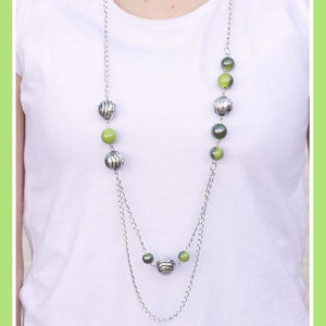 Wicked Wonders VIP Bling Necklace Right On Time Green Necklace Affordable Bling_Bling Fashion Paparazzi