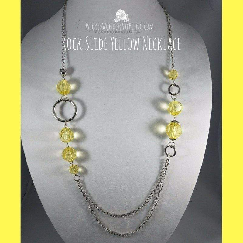 Wicked Wonders VIP Bling Necklace Rock Slide Yellow Necklace Affordable Bling_Bling Fashion Paparazzi