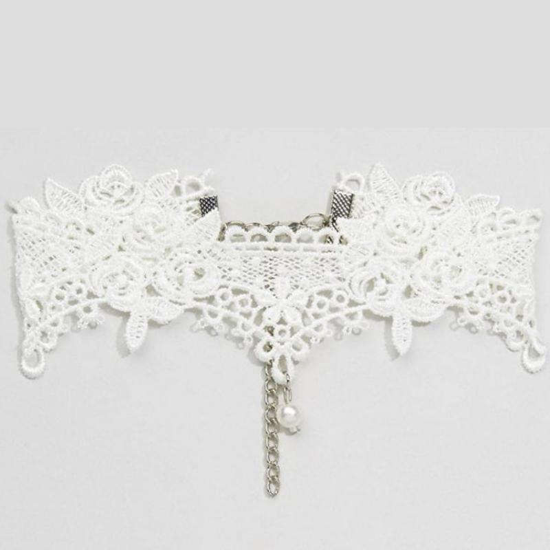 Wicked Wonders VIP Bling Necklace Roses on White Lace Choker Necklace Affordable Bling_Bling Fashion Paparazzi