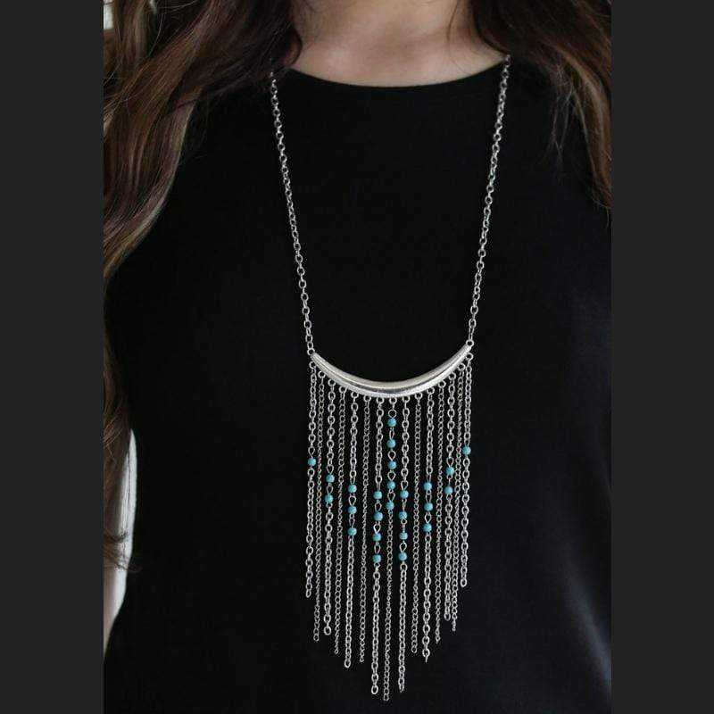 Wicked Wonders VIP Bling Necklace Runaway Rumba Blue Statement Necklace Affordable Bling_Bling Fashion Paparazzi