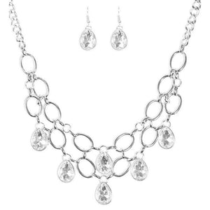 Wicked Wonders VIP Bling Necklace Show-Stopping Shimmer White Gem Statement Necklace Affordable Bling_Bling Fashion Paparazzi