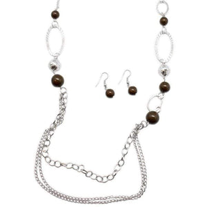 Wicked Wonders VIP Bling Necklace Somewhere Along the Line Brown Necklace Affordable Bling_Bling Fashion Paparazzi